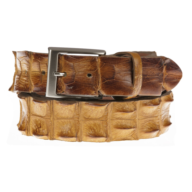 Cintura uomo in vera pelle di coccodrillo FORLI', colore MIELE, SANTINI, MADE IN ITALY