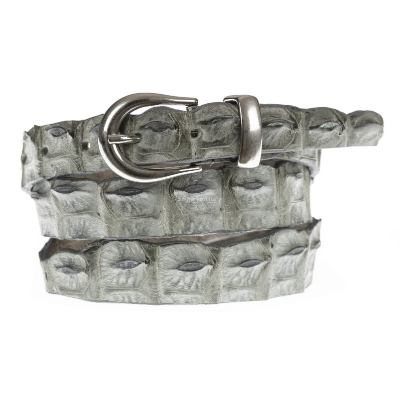 Cintura donna in vera pelle di coccodrillo DURBAN, certificato CITES, colore GRIGIO, SANTINI, MADE IN ITALY