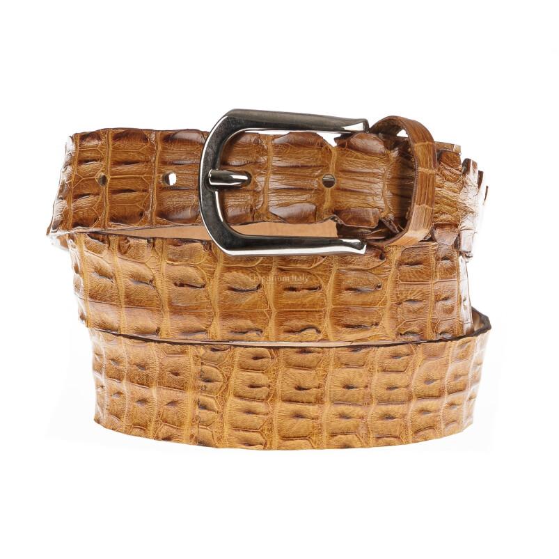 Cintura uomo in vera pelle di coccodrillo NEWCASTLE, certificato CITES, colore MIELE, SANTINI, MADE IN ITALY