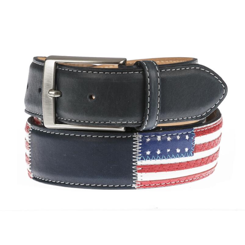 WASHINGTON: cintura uomo in cuoio, bandiere, colore: NERO/ BLU / MULTICOLOR, Made in Italy