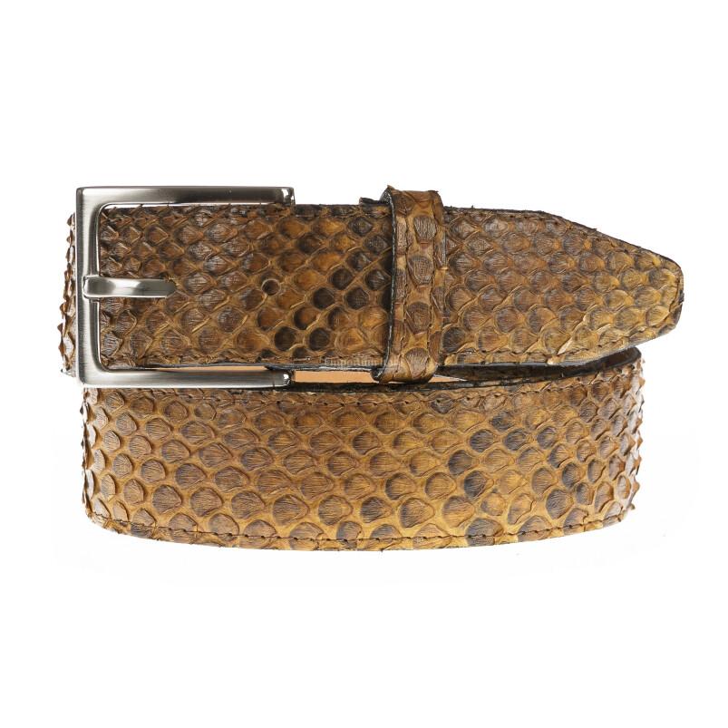 Cintura uomo in vera pelle di pitone certificata CITES GUATEMALA, colore MIELE, RINO DOLFI, MADE IN ITALY