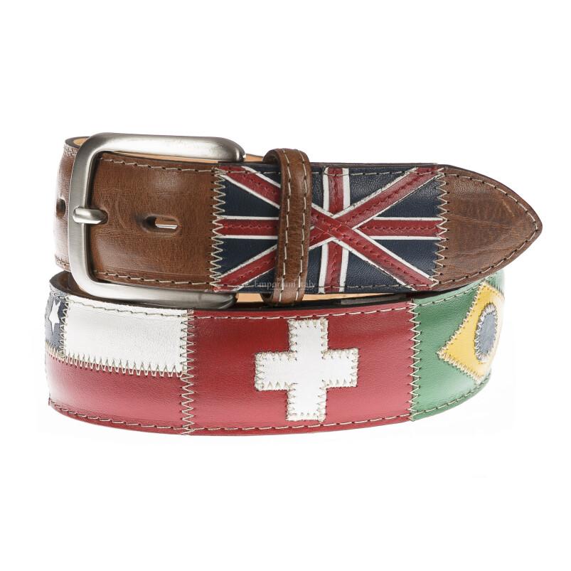 Cintura uomo in vera pelle BRISIGHELLA, colore MARRONE, fantasia con bandiere nazioni, SANTINI, MADE IN ITALY