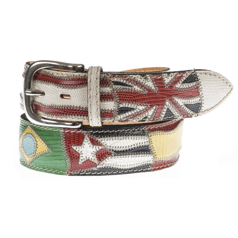 Cintura uomo in vera pelle BRISIGHELLA, colore BIANCO, fantasia con bandiere nazioni e stampa pitonata, SANTINI, MADE IN ITALY