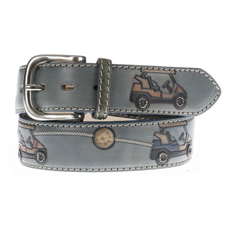 GOLBORN: cintura uomo in cuoio, colore : BLU / MULTICOLOR, Made in Italy