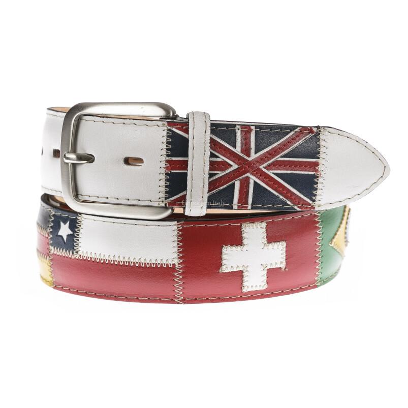 Cintura uomo in vera pelle BRISIGHELLA, colore BIANCO, fantasia con bandiere nazioni, SANTINI, MADE IN ITALY