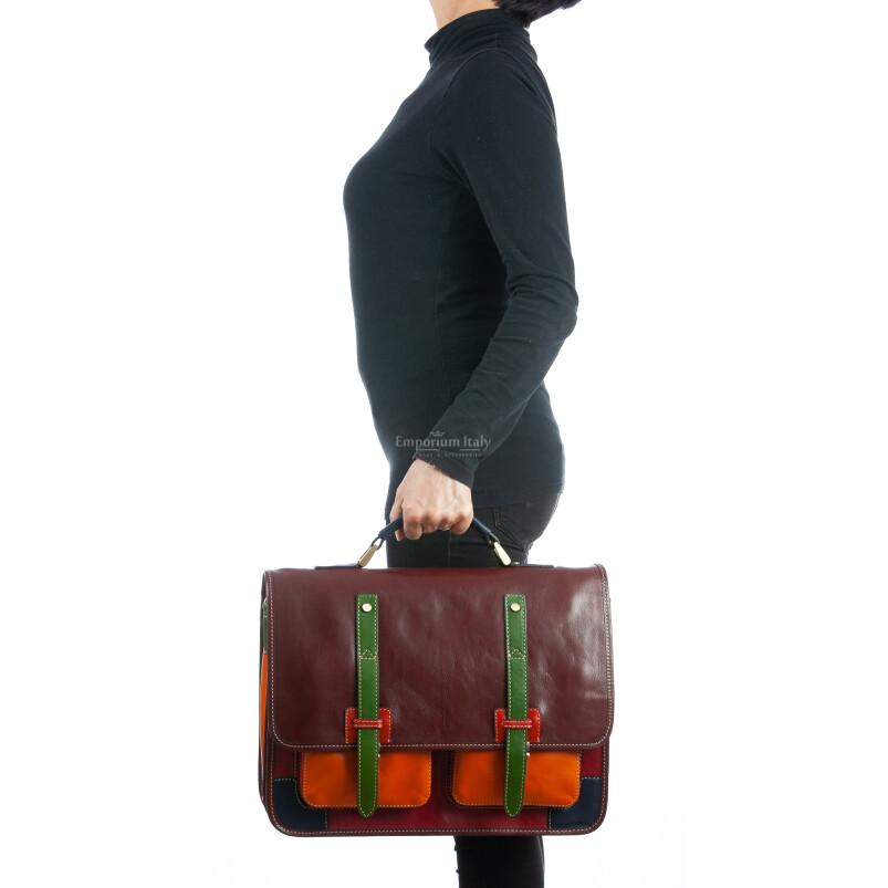 ERNESTO: cartella /borsa, zaino ufficio uomo, in cuoio, colore base: TESTA DI MORO/MULTICOLOR, Made in Italy