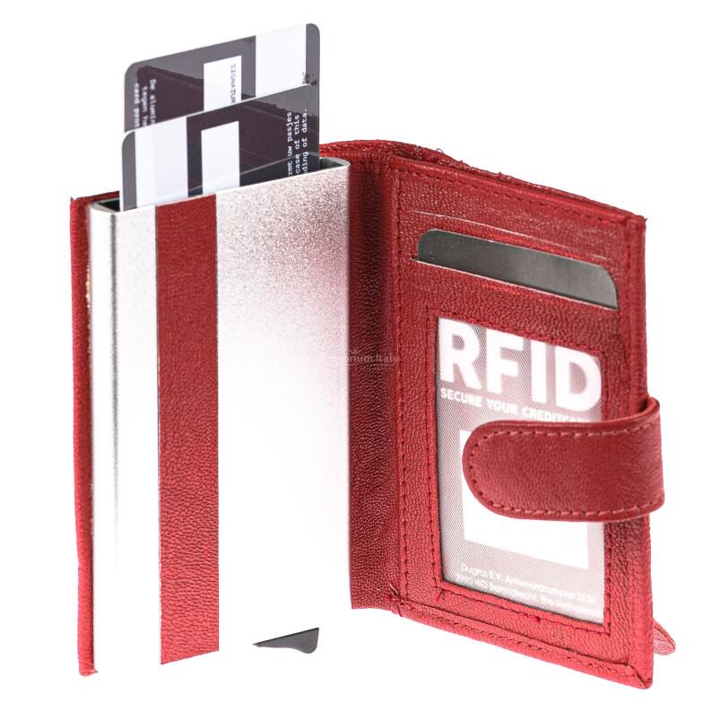Portafoglio in vera pelle e porta carte di credito in alluminio da uomo BIRMANIA, con BLOCCO RFID, colore ROSSO, EMPORIO TITANO, MADE IN ITALY