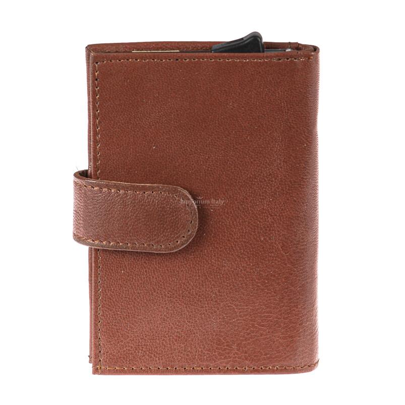 Portafoglio in vera pelle e porta carte di credito in alluminio da uomo BIRMANIA, con BLOCCO RFID, colore MARRONE, EMPORIO TITANO, MADE IN ITALY