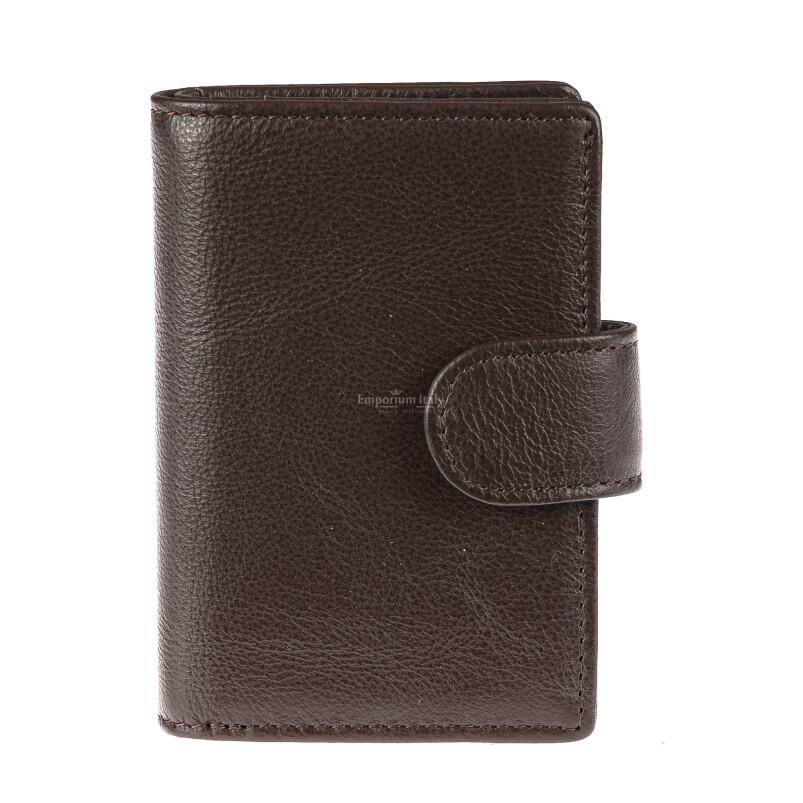 Portafoglio in vera pelle e porta carte di credito in alluminio da uomo EL SALVADOR, con BLOCCO RFID, colore TESTA DI MORO, EMPORIO TITANO