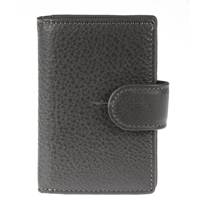 Portafoglio in vera pelle e porta carte di credito in alluminio da uomo EL SALVADOR, con BLOCCO RFID, colore GRIGIO, EMPORIO TITANO
