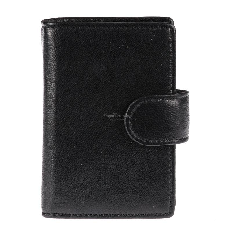 Portafoglio in vera pelle e porta carte di credito in alluminio da uomo EL SALVADOR, con BLOCCO RFID, colore NERO, EMPORIO TITANO