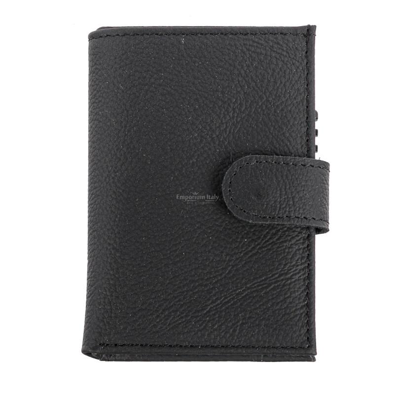 Portafoglio in vera pelle e porta carte di credito in alluminio da uomo OMAN, con BLOCCO RFID, colore NERO, EMPORIO TITANO