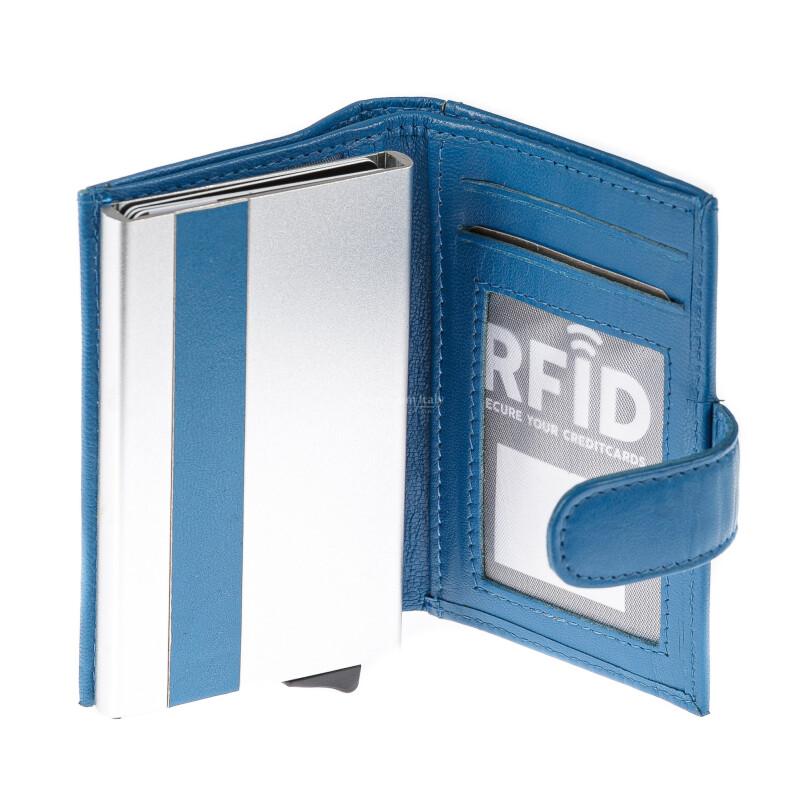 Portafoglio in vera pelle e porta carte di credito in alluminio da uomo BIRMANIA, con BLOCCO RFID, colore AZZURRO, EMPORIO TITANO, MADE IN ITALY