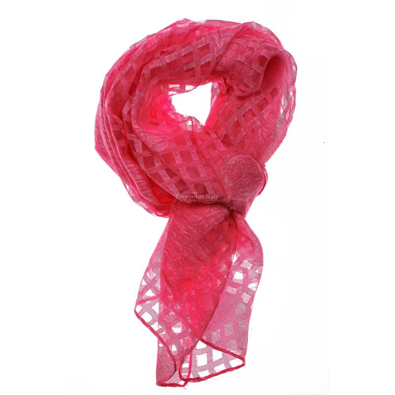 Foulard primaverile da donna ANANAS, design a quadretti, colore ROSA, EMPORIUM ITALY