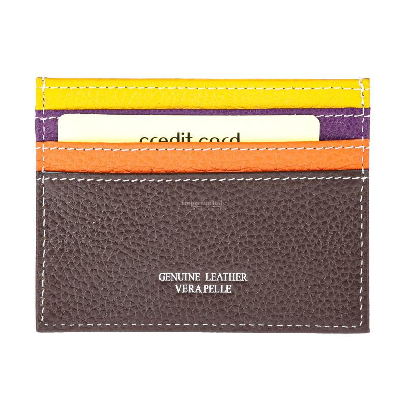 Porta tessere - carte di credito uomo / donna in vera pelle tradizionale SANTINI mod BELGIO, MULTICOLORE/GIALLO/VIOLA/ARANCIONE/BEIGE, Made in Italy.