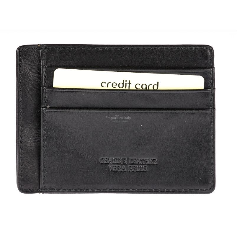 Portatessere - Carte di Credito da uomo in vera pelle HONG KONG, colore NERO, EMPORIO TITANO