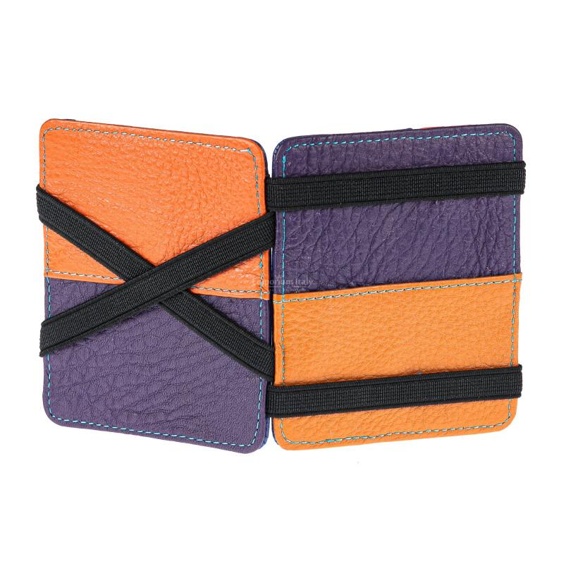 Portatessere con elastico fermasoldi in vera pelle unisex POLONIA, colore VIOLA/ARANCIO, EMPORIO TITANO