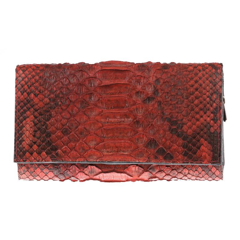 Portafoglio donna in pelle di pitone GIACINTO, certificato CITES, colore ROSSO, SANTINI, MADE IN ITALY