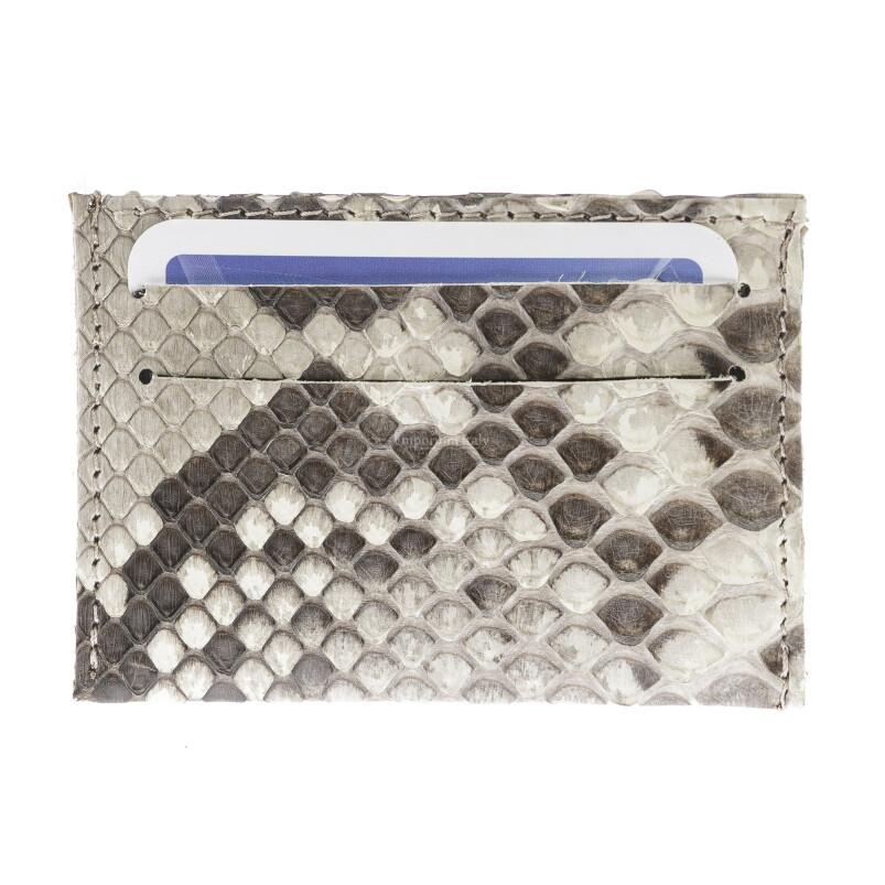 Porta Tessere - Carte di Credito unisex in vera pelle di pitone ZANZIBAR, certificato CITES, color BEIGE, SANTINI