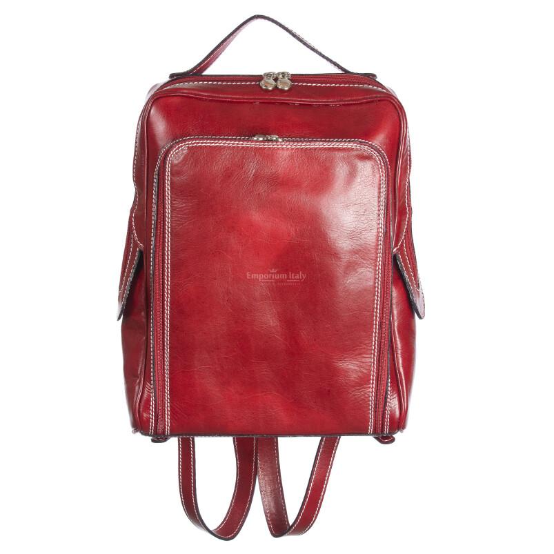 zaino in vera pelle RINO DOLFI mod. MONTE BIANCO maxi colore ROSSO Made in Italy.