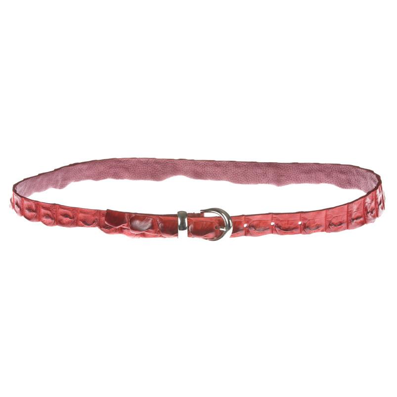 Cintura donna in vera pelle coccodrillo ELIO ZAGATO mod. RABAT colore ROSSO Made in Italy