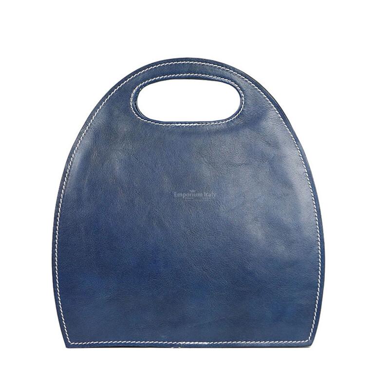 Borsa donna in vera pelle RINO DOLFI mod. WINONA, colore BLU, Made in Italy.