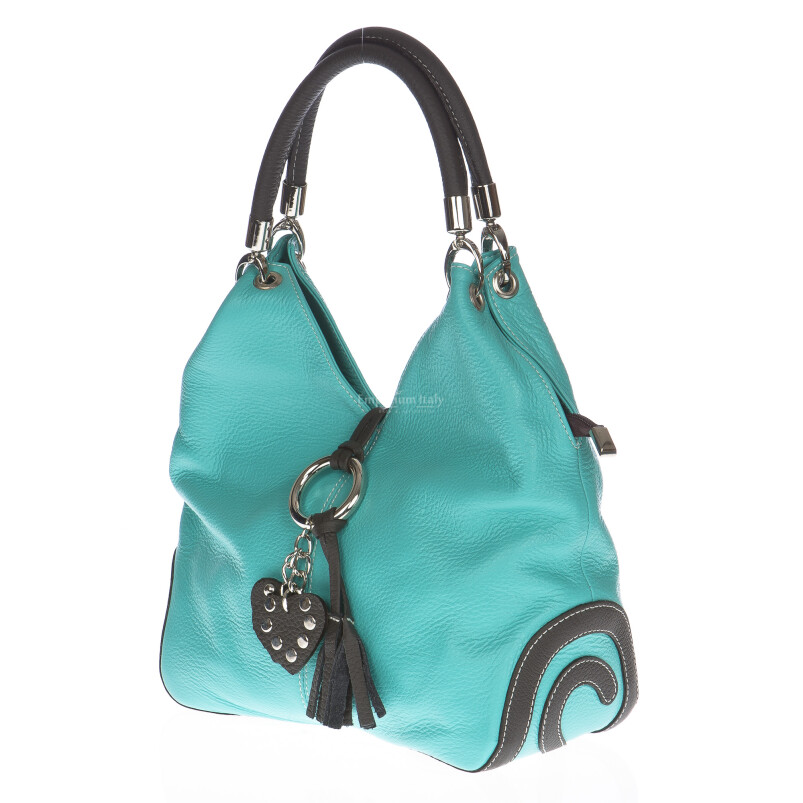 Borsa donna in vera pelle DELIA REI mod. BONELLA small colore AZZURRO Made in Italy