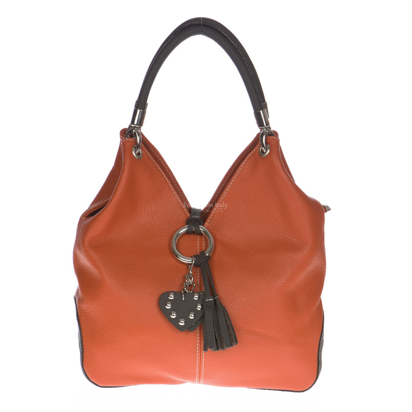 Borsa donna in vera pelle DELIA REI mod. BONELLA small colore ARANCIO Made in Italy