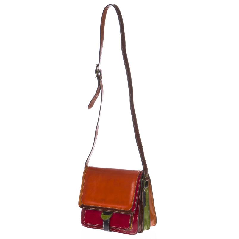 Borsa donna in vera pelle SANTINI mod. ELVIRA colore MULTICOLORE Made in Italy