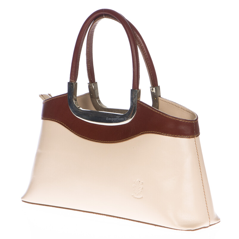 Borsa donna in vera pelle RINO DOLFI mod. ROSSELLA colore PANNA / MARRONE, Made in Italy