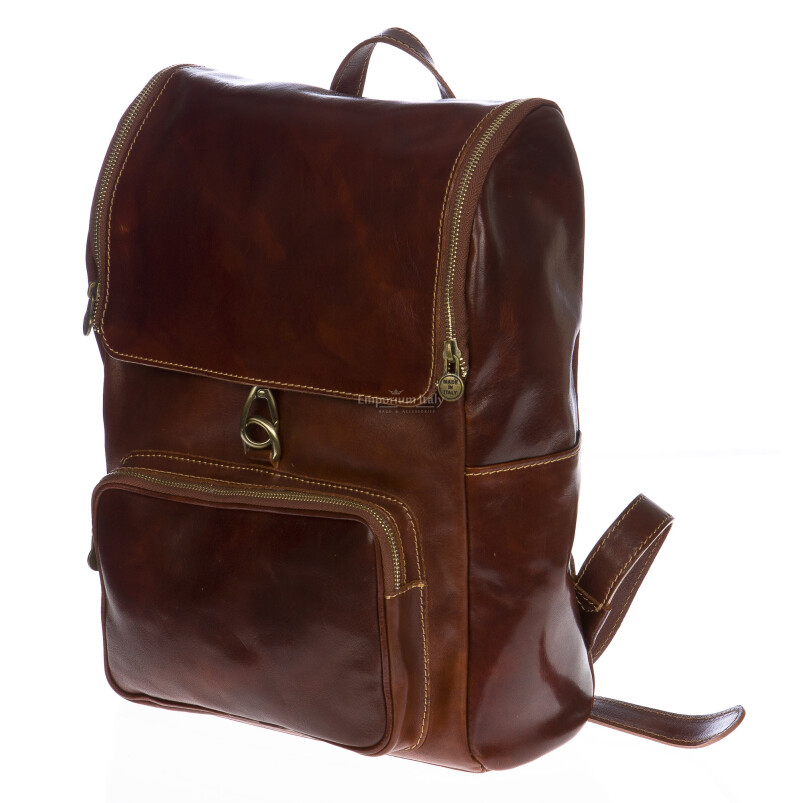 Borsa zaino in vera pelle MAESTRI mod. EVEREST colore MARRONE Made in Italy.