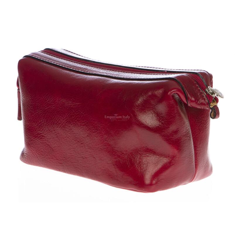 Borsa beauty uomo / donna in vera pelle MAESTRI mod. ENDY colore ROSSO Made in Italy