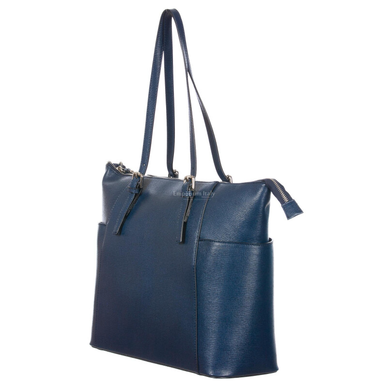 Borsa donna in vera pelle saffiano CHIARO SCURO mod. AMBRA colore BLU Made in Italy
