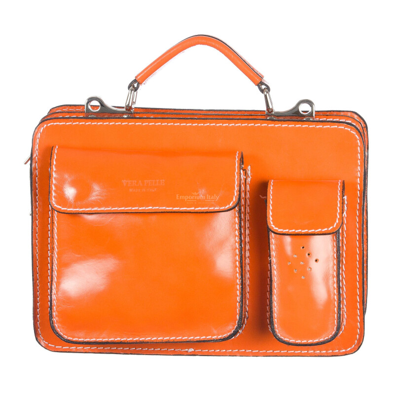 Borsa in vera pelle MAESTRI mod. ALEX small colore ARANCIO Made in Italy.
