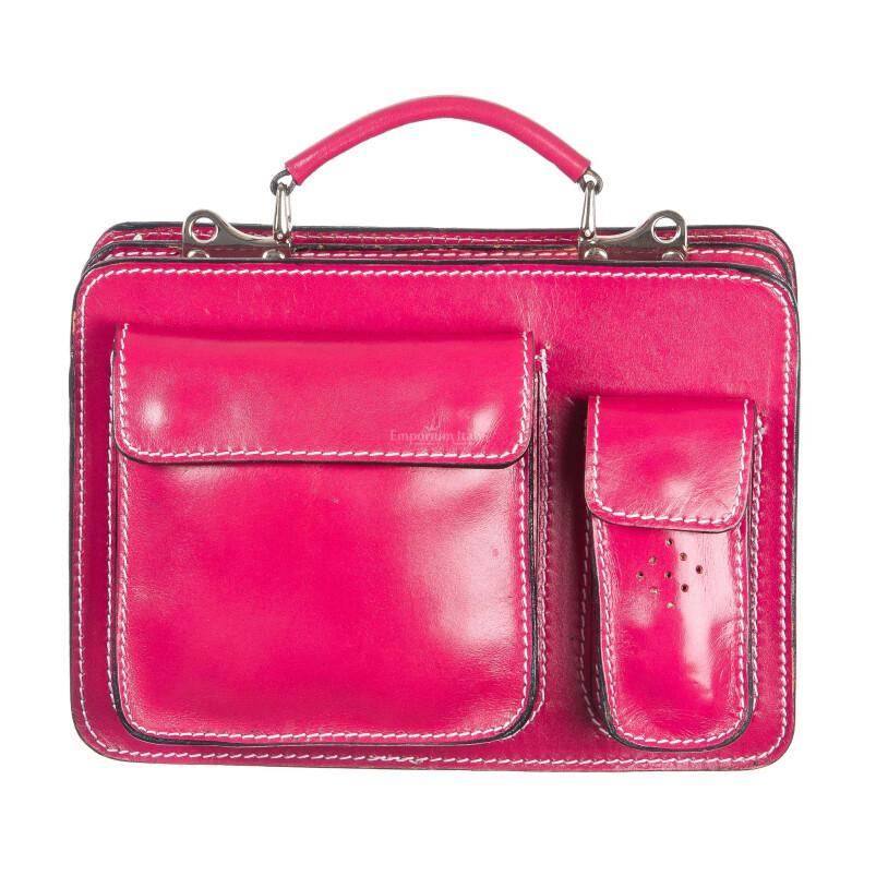 Borsa in vera pelle MAESTRI mod. ALEX small colore FUCSIA Made in Italy