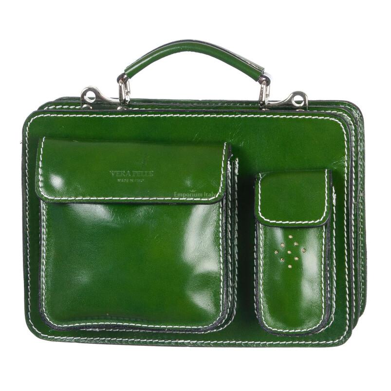 Borsa in vera pelle MAESTRI mod. ALEX small colore VERDE Made in Italy.
