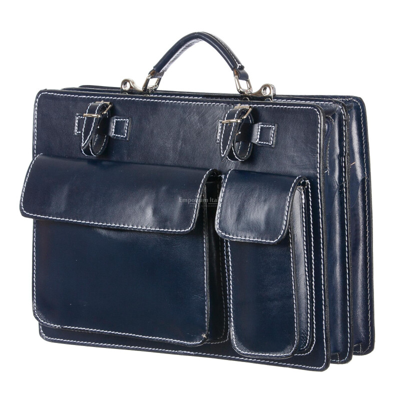 Borsa in vera pelle MAESTRI mod. ALEX maxi colore BLU Made in Italy.