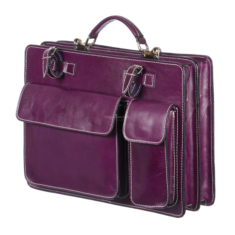 Borsa in vera pelle MAESTRI mod. ALEX maxi colore VIOLA Made in Italy.