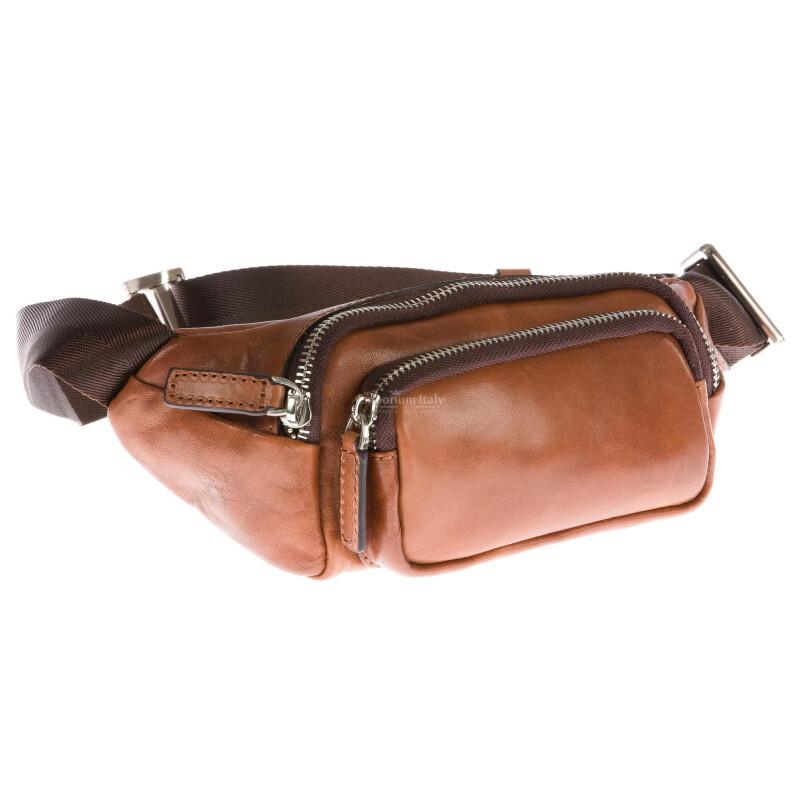 Мужская поясная сумка из буферной кожи мод. цвет коричневый, LUCAS