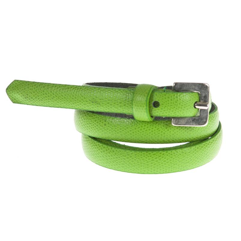 Cintura donna in vera pelle DELIA REI mod. STOCCARDA colore VERDE Made in Italy