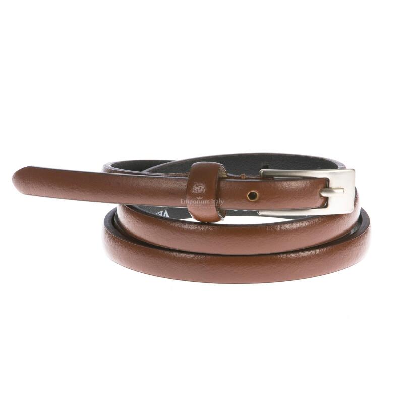 Cintura donna in vera pelle GIULY mod. LISBONA colore MARRONE Made in Italy