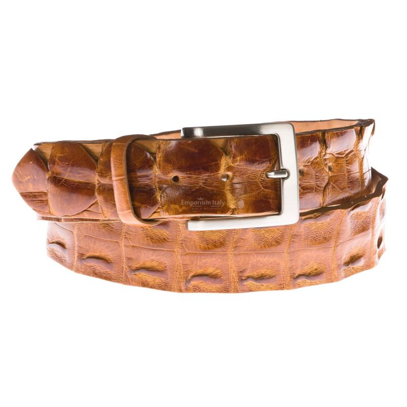 Cintura uomo in vera pelle coccodrillo ELIO ZAGATO mod. KIEV colore MIELE Made in Italy