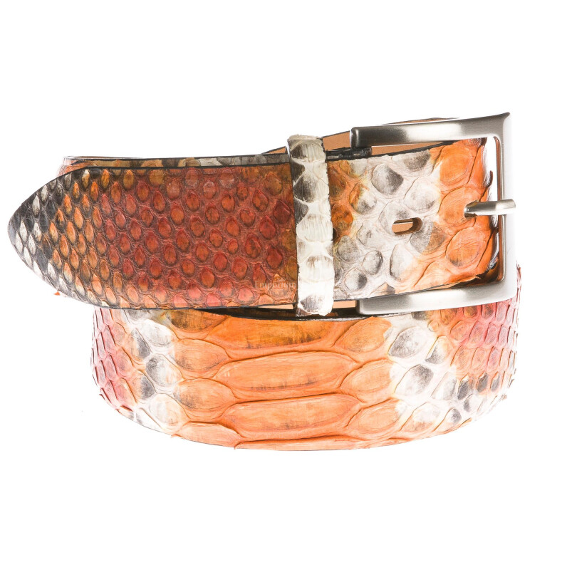 Cintura uomo BEIRUT C28, vera pelle pitone certificato CITES, colore ARANCIO/GRIGIO, ELIO ZAGATO, Made in Italy