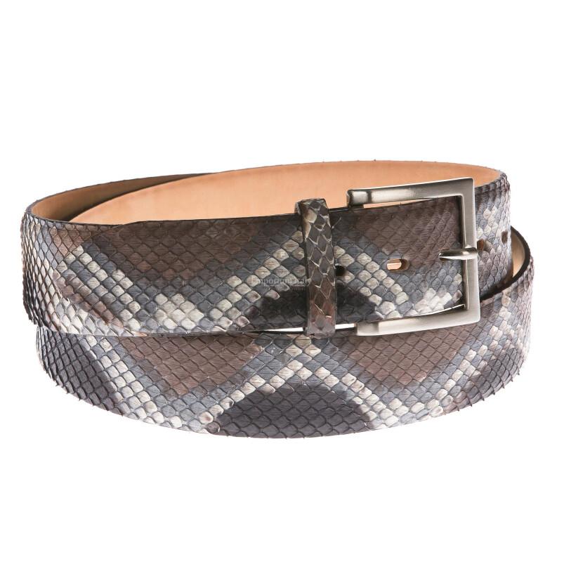 Cintura uomo in vera pelle pitone ELIO ZAGATO mod. BELFAST colore MARRONE GRIGIO Made in Italy