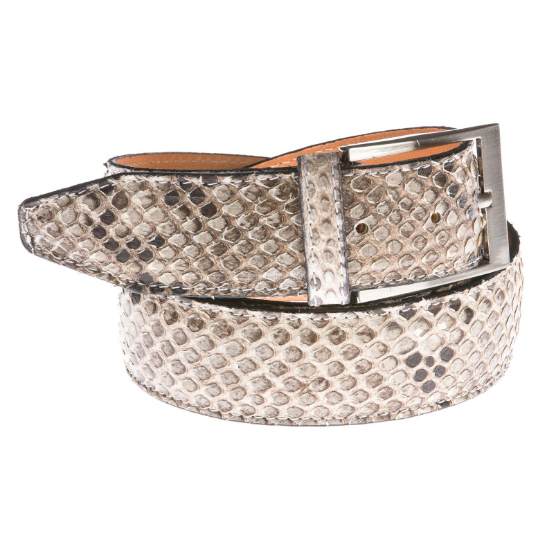 Cintura uomo in vera pelle pitone RINO DOLFI mod. BENGASI colore GRIGIO Made in Italy