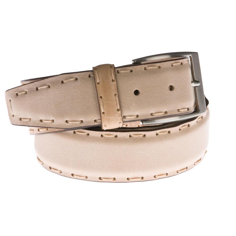 Cintura uomo in vera pelle GP & MAX mod. DUBAI colore BEIGE Made in Italy