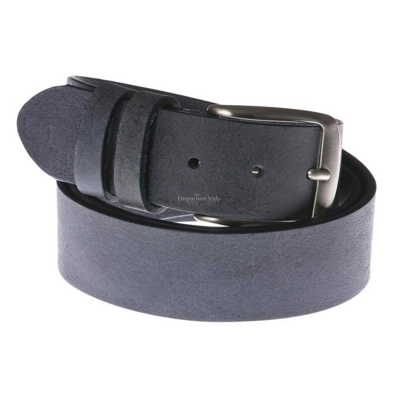 Cintura uomo in vera pelle RINO DOLFI mod. RIO colore BLU Made in Italy