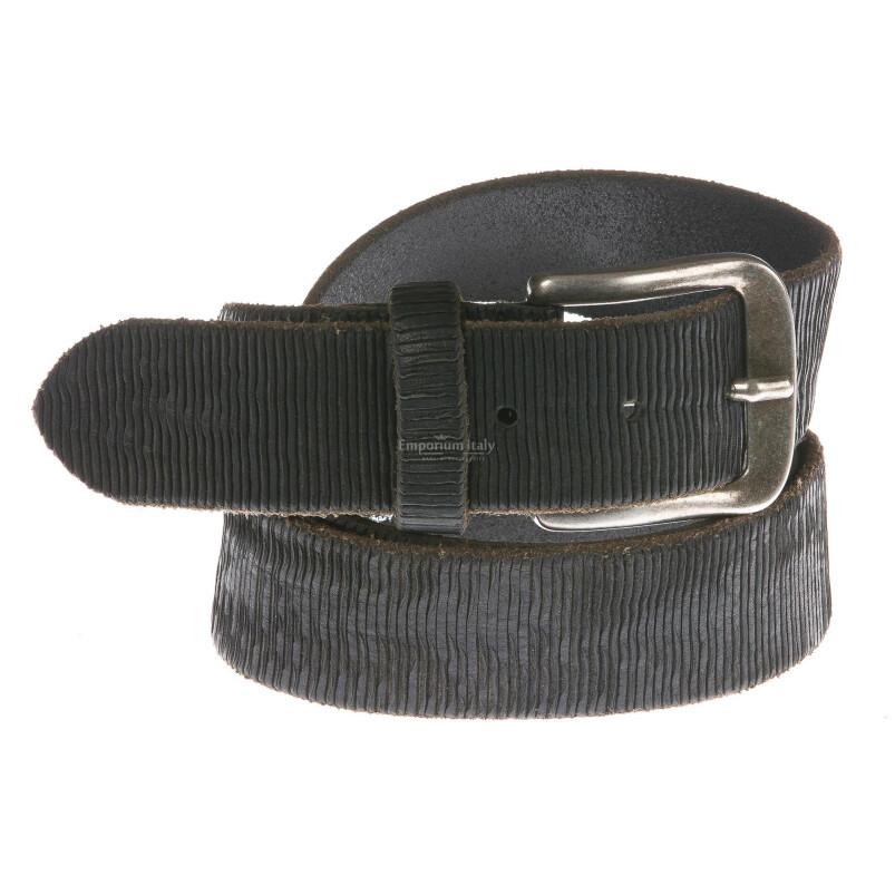 Cintura uomo in vera pelle TRE BI.CI mod. SANTOS colore NERO Made in Italy