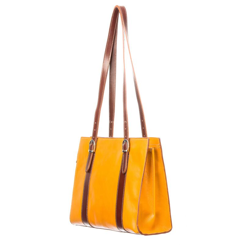 Borsa donna MARINA in vera pelle tamponata, colore giallo / marrone, manici lunghi regolabile, un scomparto interno, tasche accessori, chiusura a zip, Rino Dolfi, Made in Italy.