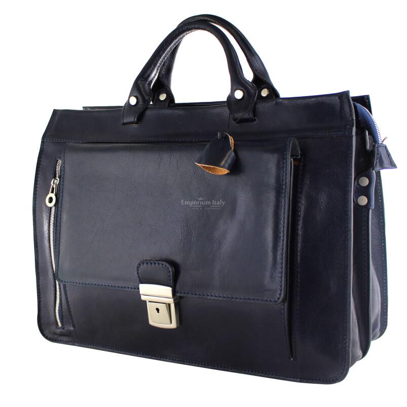 EMIDIO XXL: cartella ufficio / borsa lavoro, uomo / donna, in cuoio, colore : BLU, Made in Italy